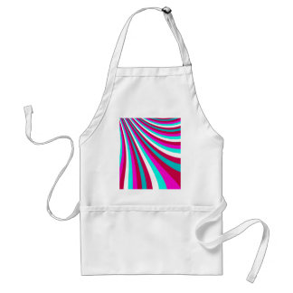 Groovy Hot Pink Teal Rainbow Slide Stripes Pattern Standard Apron