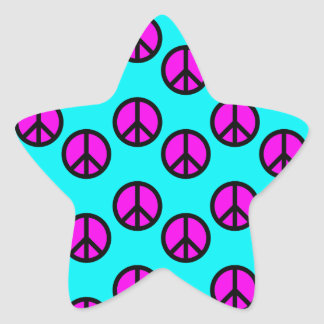 Groovy Teen Hippie Teal and Purple Peace Signs Star Sticker