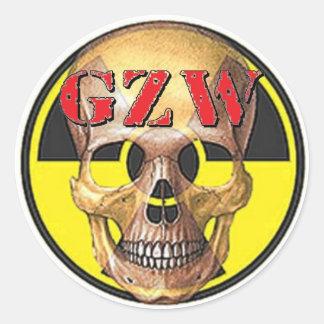 Ground Zero Warhead Red Skull Round Sticker