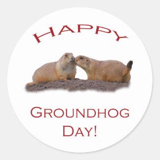 Groundhog Day Kiss Classic Round Sticker