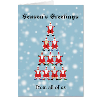 Group customized tree of santas holiday card