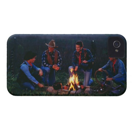 Group of cowboys around campfire iPhone 4 Case-Mate cases