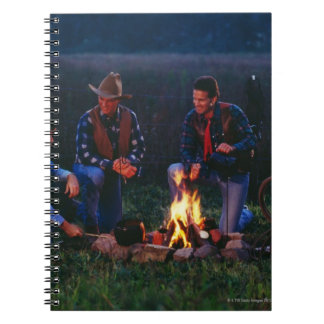 Group of cowboys around campfire spiral notebooks