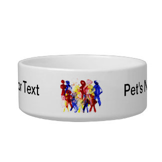 Group of standing stick figures finger painting re pet water bowl