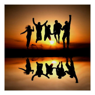 Group of young people showing joy happiness love poster