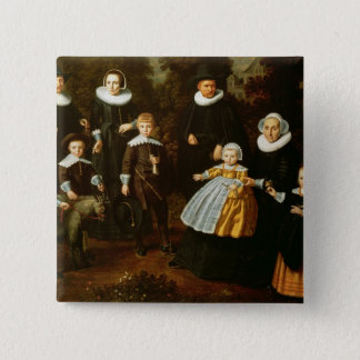 Group portrait of three generations of a 15 cm square badge