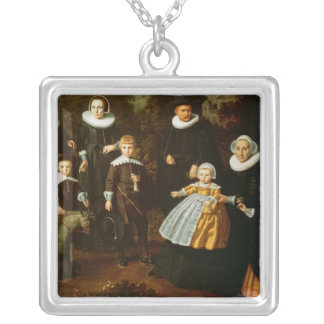 Group portrait of three generations of a silver plated necklace