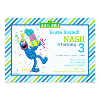 Grover Striped Birthday 13 Cm X 18 Cm Invitation Card