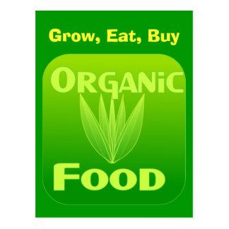 Grow, Eat, Buy organic food postcard