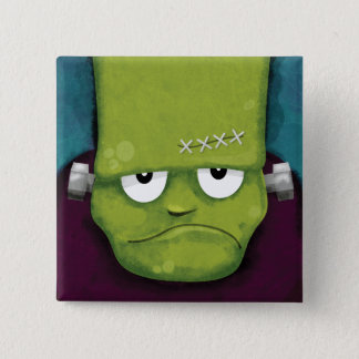 Grumpy Frankenstein | Halloween Novelty 15 Cm Square Badge