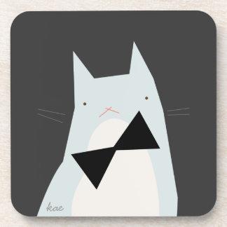 Grumpy Kitty in a Black Bowtie Beverage Coasters