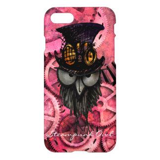 Grumpy Steampunk Owl on Pink Gears iPhone 8/7 Case
