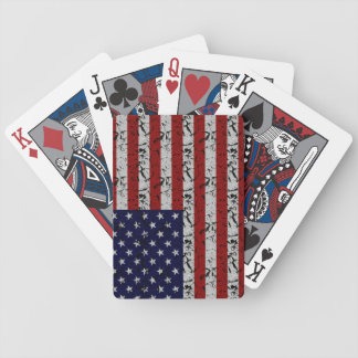 Grunge American USA Flag Bicycle Playing Cards