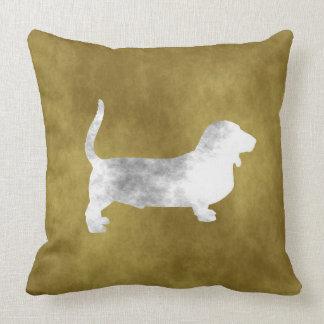 grunge basset hound throw pillow