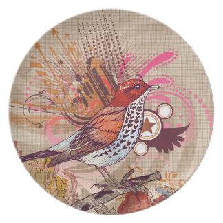 Grunge Bird I Plate