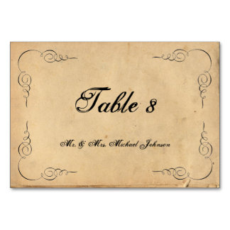 Grunge Brown Paper Guest Table Numbers Table Cards