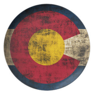 Grunge Colorado Flag Plate