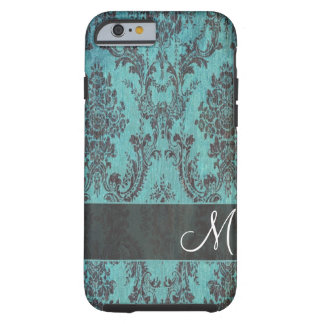 grunge damask Pattern with Monogram Tough iPhone 6 Case