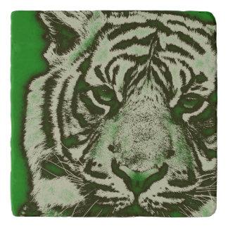Grunge Green Abstract Tiger Trivet