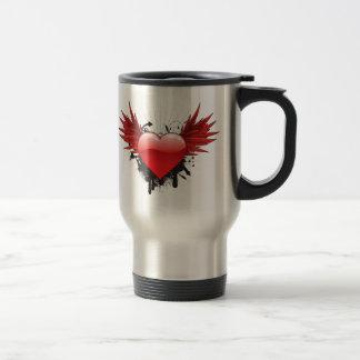 Grunge Heart and Wings Travel Mug