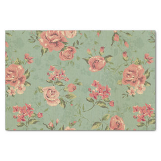 "Grunge,jade,coral,floral,vintage,shabby chic,roses 10"" x 15"" tissue paper"
