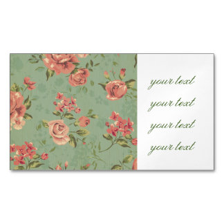Grunge,jade,coral,floral,vintage,shabby chic,roses magnetic business cards (Pack of 25)