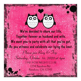 Grunge neon pink owl couple wedding invitations