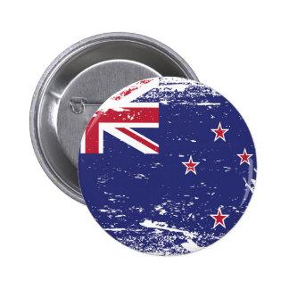 Grunge New Zealand Flag 6 Cm Round Badge