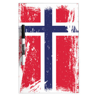 Grunge Norway Flag Dry Erase Board