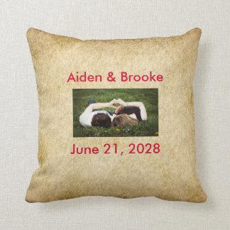 Grunge Old Vintage Wedding & Names Throw Pillow Cushion