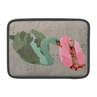 Grunge Olive & Blush Swans Macbook Sleeve