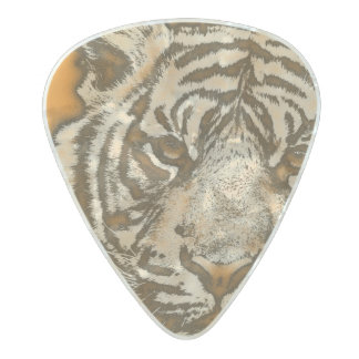 Grunge Orange Abstract Tiger Pearl Celluloid Guitar Pick