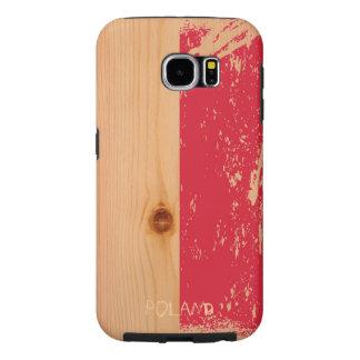 Grunge Poland Flag on Wood Samsung Galaxy S6 Cases
