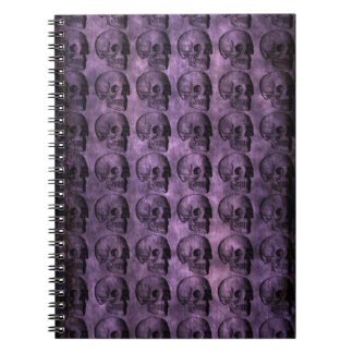 grunge Purple Skulls Spiral Notebook
