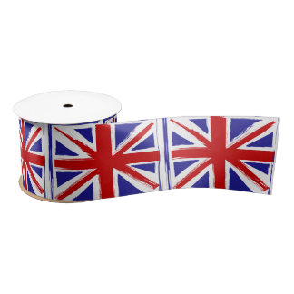 Grunge Style British Union Jack Flag Satin Ribbon