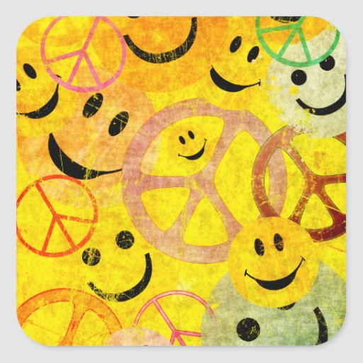 Grunge Style Peace Signs and Smiley Faces Square Sticker