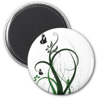 Grunge Swirls 2 Butterflies Green Refrigerator Magnet