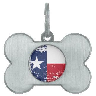 Grunge Texas Flag Pet Name Tag