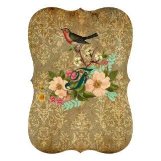 grunge vintage damask floral bird victorian brown cards