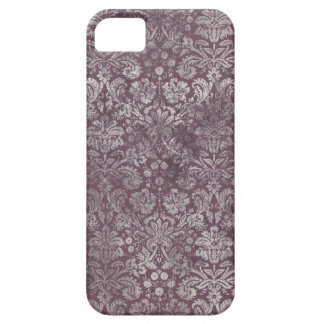 Grunge Vintage Damask in Dusky Eggplant Pink Barely There iPhone 5 Case