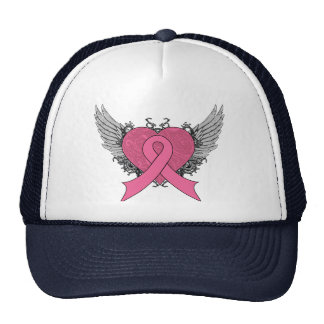 Grunge Winged Heart - Breast Cancer Mesh Hats