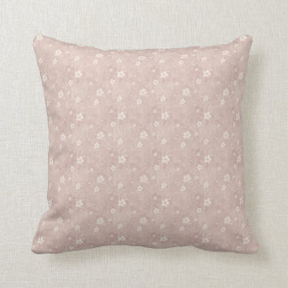 Grungy Hearts and Flowers in Faded Pink Throw Pillow