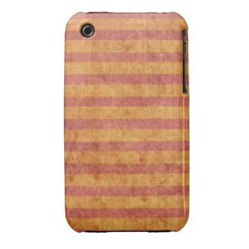 Grungy Red and Yellow Stripe Pattern iPhone 3 Covers