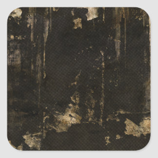 Grungy Ripped Black Background Square Sticker
