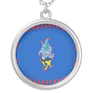 Guam Gnarly Flag Round Pendant Necklace