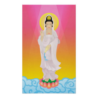guan yin in art deco poster