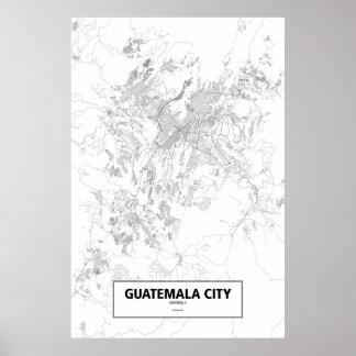 Guatemala City, Guatemala (black on white) Poster