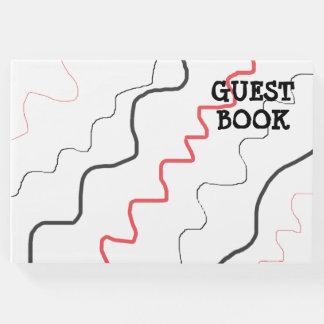 Guest Book, Red, Black White Modern Abstract Lines Guest Book