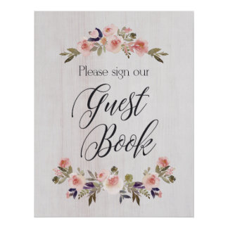 Guest Book sign - floral rustic wood Poster