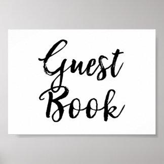 Guest Book Wedding Sign Elegant Brushed Script Poster